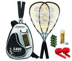 Speedminton Schläger Set S400 im Back Pack, (incl. Easycourt), silver-black für 62,99 € @ Amazon