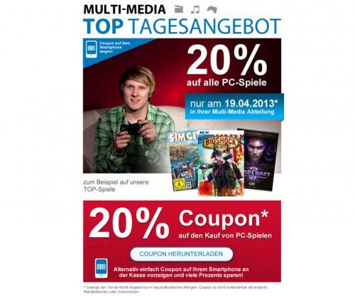 Nur morgen (19.04.): 20% auf alle PC-Spiele @Drogerie Müller