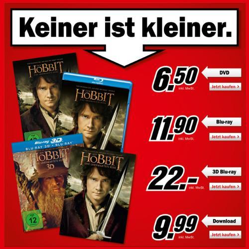 Der Hobbit DVD im MM für 6,50€// Amazon.de zieht mit!!