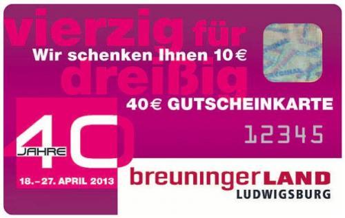 +LOKAL+ 40 Jahre Breuningerland Ludwigsburg - 40 für 30 Gutscheinkarte