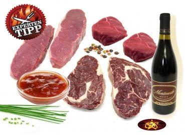 Grillpaket Rind ca. 2200 g + Wein + Marinade von GourmetStar.de 69,00 € statt 128,49 €