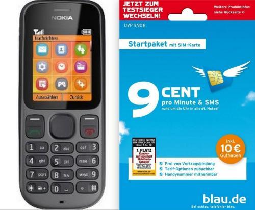 Nokia 100 - Schwarz (Ohne Simlock)+gratis Prepaid Karte inkl. 10€ Startguthaben (blau.de)