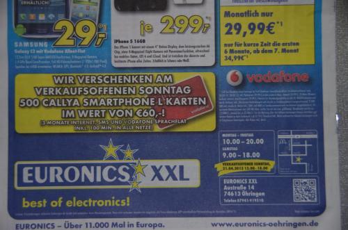 Lokal@Euronics XXL in 74613 Öhringen am Sonntag, 21.04.2013 : 500 Callya Smartphone L Karten mit 3 Monatsguthaben gratis ( Wert 60 Euro )
