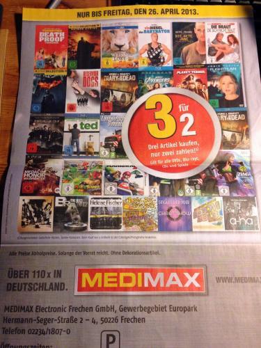Medimax Frechen: 3 für 2 für alle DVDs, Blu-Rays, CDs und Spiele