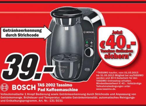 [Lokal] Bosch TAS2002 Tassimo incl. 40 EUR Kapselgutschein