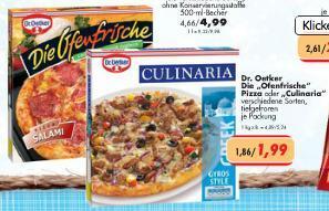 Dr. Oetker Die Ofenfrische Pizza oder Culinaria für 1,99 €