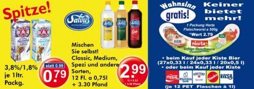 [Regional] Herta Halbkilofleischwurst gratis zur Getränkekiste. Und Bärenmarke Milch 1l 0,79€. Und Salvus Apfelschorle 12*0,75l 2,99€.