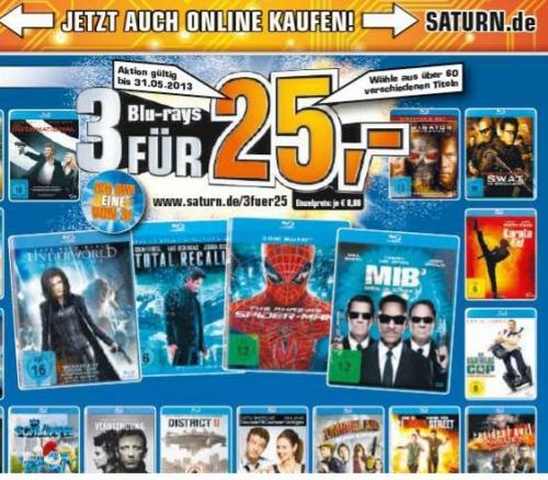 [SATURN OFFLINE + ONLINE] BLU-RAY AKTION 3 STÜCK FÜR 25€ (online zzgl. Versandkosten)