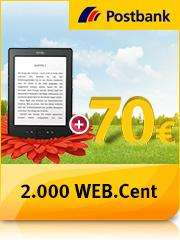 Kostenloses Postbank Girokonto plus + Kindle + 70,- Euro Startguthaben + 2.000 WEB.Cent