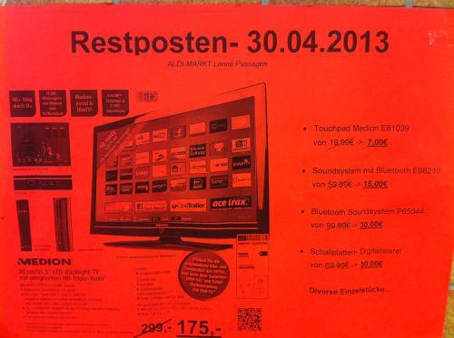"""[lokal] Frankfurt (Oder) : 31,5"""" LED-Fernseher für 175 statt 299 € und andere Medion Restposten bei Aldi"""