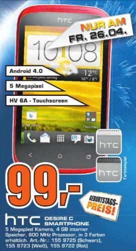 [Saturn Stuttgart ]  HTC Desire C Smartphone (8,9 cm (3,5 Zoll) HVGA-Touchscreen, 5 Megapixel Kamera, 600MHz, 512MB RAM, 4GB Speicher, Android 4.0 OS) schwarz, weiß oder rot 99€