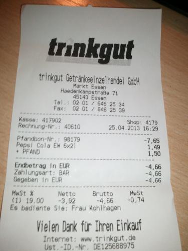 [Lokal Essen] Pepsi 6 x 2 Liter für 1,49 €