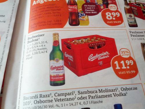 Budweiser Budvar Lagerbier Tegut Schweinfurt