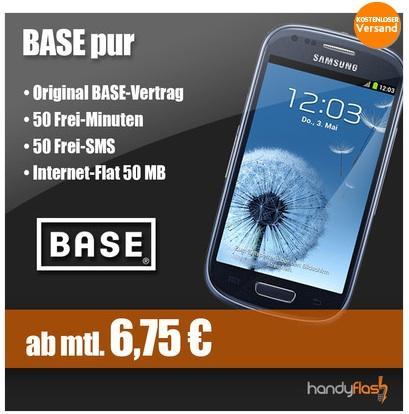 Galaxy S3 Mini in Pebble Blue - Nur 1 x Vertrag e+ Base Pur - Gesamtkosten 162€ für ADAC-Mitgl. bzw. 180€