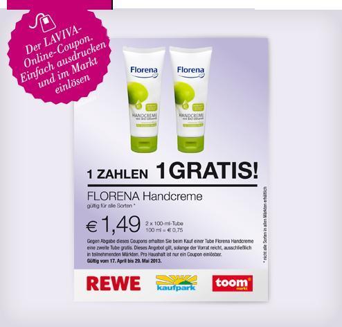 Laviva 2 für 1 Gutschein für FLORENA Handcreme bei REWE, Kaufpark & toom Baumarkt