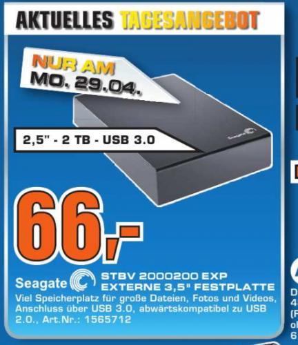 [Saturn Köln]   2TB Festplatte 3,5  Seagate Expansion Desktop USB 3.0 66€