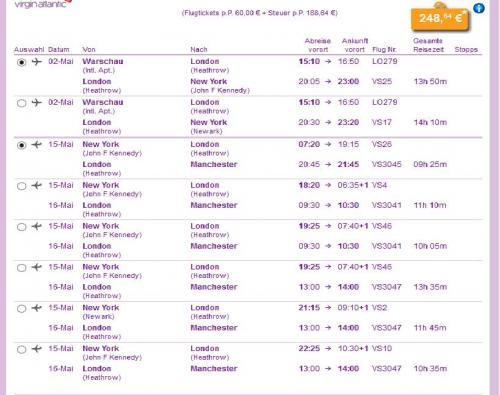 NEW YORK Hin und Zurück ab 248€ Abflug von Warschau, Zurück nach Manchester/Edinburgh