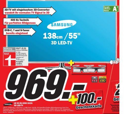 *Preisknaller* Samsung UE55ES6990 3D LED TV + 2 Brillen + 100 Euro Geschenkkarte lokal im MediaMarkt Baden Baden