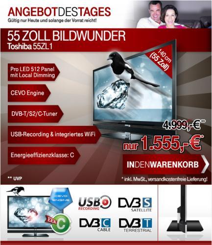 Toshiba 55ZL1G Full LED-TV @ 004.de für 1555 Euro