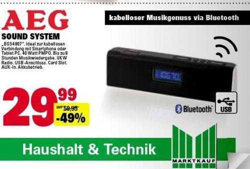AEG BSS 4807 Bluetooth Lautsprecher mit Radio  / USB / SD und Akku [offline @Marktkauf, deutschlandweit]