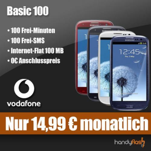 Vodafone Basic 100 für monatlich 14,99€ + gratis Samsung Galaxy S3 – 100MB Internet-Flat, 100 Freiminuten und -SMS