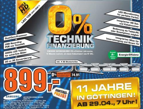 [ Saturn Göttingen]   55Zoll Samsung UE55ES6990 3D LED  DVB-T / C / S2 TV + 2 Brillen  899€  /// weitere Schnäppchen: Samsung SSD 840 250GB SATA 6Gb/s 135€ / 120GB 75€ ///  Toshiba HAYABUSA USB Stick 32GB 12€  ///   1,5TB Toshiba HDD 2,5Zoll 79€