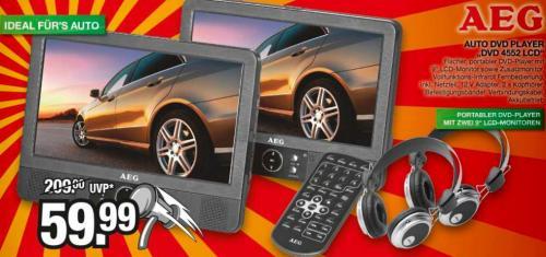 Marktkauf AEG Car Cinema DVD 4552 portabler DVD-Player mit zwei Bildschirmen inkl. 2 Kopfhörern