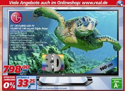 [ Real ]  LG 55LM615S 140 cm (55 Zoll) Cinema 3D LED-Backlight-Fernseher, EEK A (Full-HD, 200Hz MCI, DVB-T/C/S) schwarz  799€