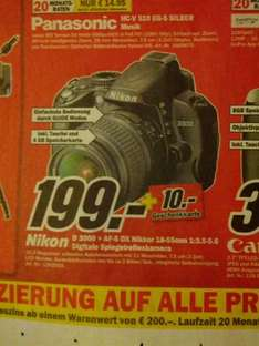 (lokal) Nikon D3000 + AF-S DX Nikkor 18-55mm inkl. 10€ Gutschein - Mediamarkt Mülheim an der Ruhr