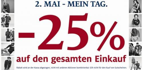 [Österreich] C&A 25% Rabatt auf das gesamte Sortiment in den Filialen – nur heute!