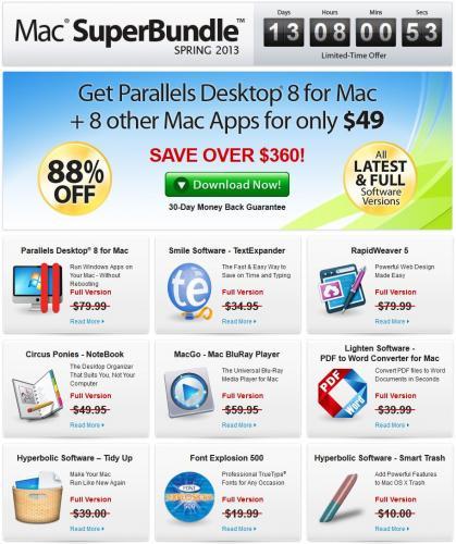 Das Mac Super Bundle – Spring 2013 – 9 Apps inkl. Parallels 8 für nur 37,16€