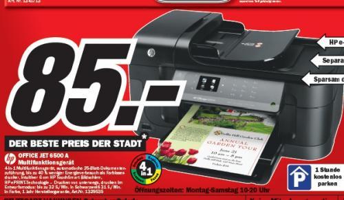 Media Markt S-Vaihingen: HP OfficeJet Pro 6500A (Fax-AIO mit LAN) für 85€