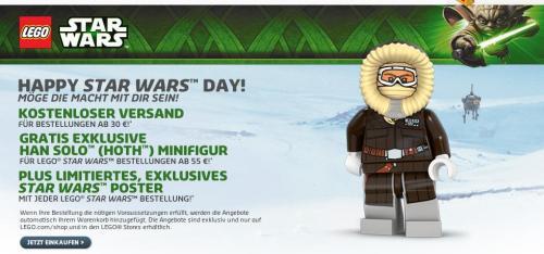 Lego Shop: Rabatte bis 20% + Star Wars Promo Figur Han Solo, keine VK etc