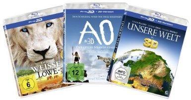 Die 3D-Family-Box - (Der weiße Löwe, AO - Der letzte Neandertaler, Unsere Welt) [Blu-ray] für 12€ @Amazon
