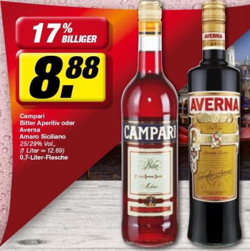 @toom: Campari oder Averna 0,7l für 8,88 Euro