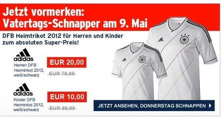 DFB Trikot 2012 weiß, Herrengröße für 20 Euro, Kindergröße für 10 Euro, nur am 09.05. bei Karstadt.de