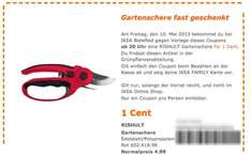 IKEA Bielefeld - RiSHULT Gartenschere für 1Cent (Normalpreis: 4.99€) am 10.5 - eventl. Bundesweit ?!