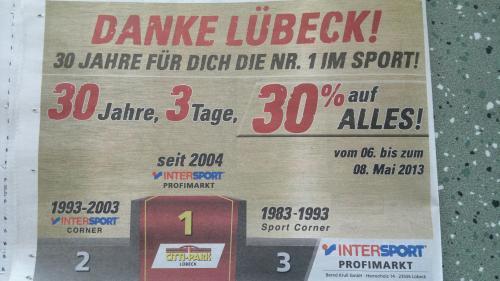 [Lokal] Intersport Lübeck 30% auf Alles vom 06.05. - 08.05.