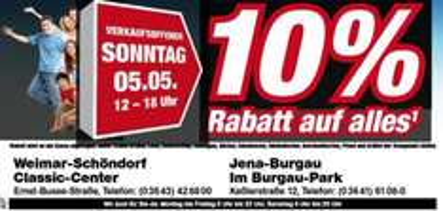 [LOKAL - Jena, Weimar] Toom Verkaufsoffener Sonntag 05.05.2013!! 10% auf ALLES*