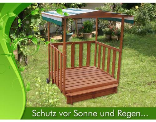 Sandkasten Spielhaus mit Spielveranda für €66,77 [@MeinPaket.de]