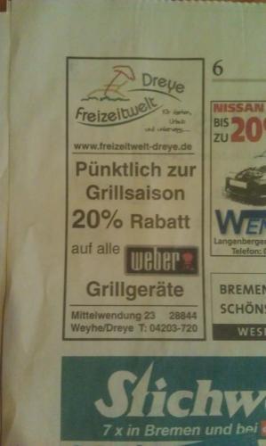 [lokal Bremen/NDS] 20 % auf alle Weber Grillgeräte Freizeit Welt Dreye