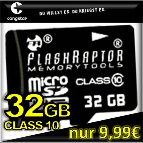 congstar Prepaid + 32 GB FLASHRAPTOR microSDHC Class 10 (oder 15€ AMAZON) für nur 9,99€