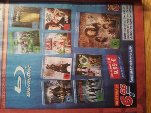 3 Blu Ray Filme für 19,98 Euro bei Real, bzw. ab 3 jeder Film 6,66 Euro