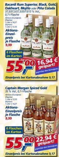 @ Real - Bacardi alle 6 Sorten oder Captain Morgen im SIXpack und Tullamore Dew im 6er zu 66€!