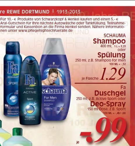 [Lokal REWE Dortmund] für 10€ Henkel&Schwarzkopf Produkte kaufen und 5€ ARAL Gutschein erhalten