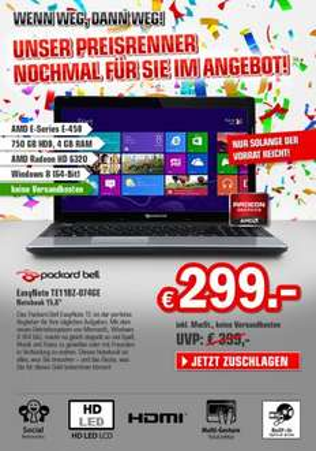 Packard Bell EasyNote TE11BZ-074GE Notebook @redcoon.de für 299€