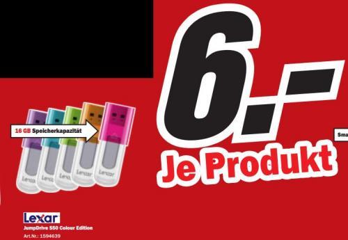 """Lexar™ - 16GB Speicherstick """"JumpDrive S50"""" (USB2.0, 5 verschiedene Farben) für €6.- [@MediaMarkt]"""
