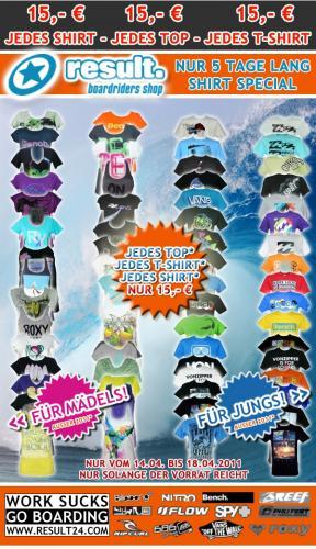 Alle T-Shirts 15 € Jungs und Mädels nur 5 Tage (Billabong...)