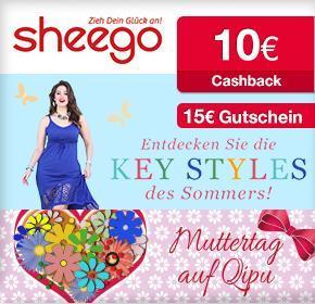 [Qipu] 10€ Cashback und ein 15€ Gutschein bei Sheego, MBW 30€