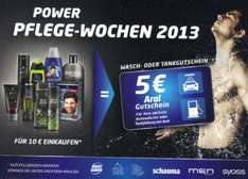 Power-Pflege-Wochen 5 EUR ARAL Gutschein für Einkauf 10 EUR (Fa, Syoss, Schwarzkopf, Right Guard)